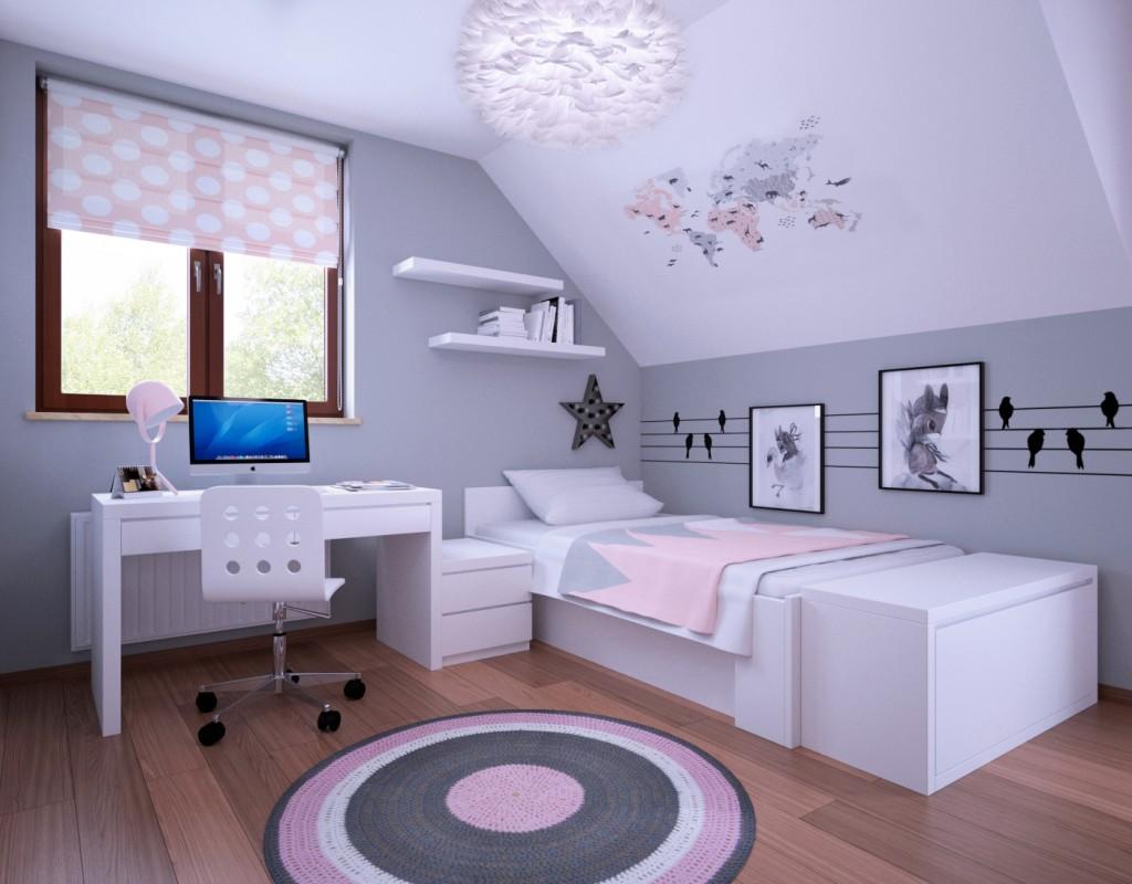 Projekt pokoju dla dziewczynki, Proste Wnętrze
